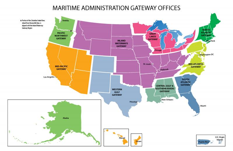 Gateway Office Regions Map   MARAD