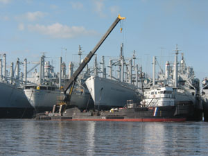 A crane leans over a fleet of vessels.